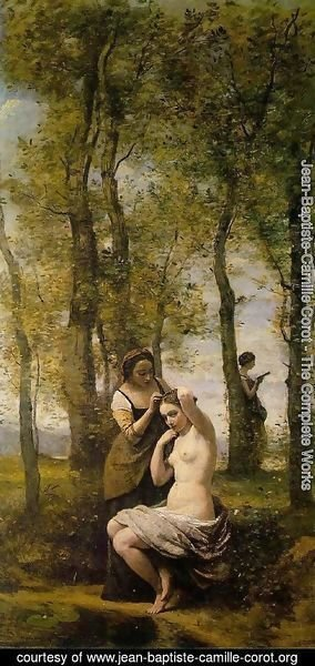 Jean-Baptiste-Camille Corot - Le Toilette (or Landscape with Figures)