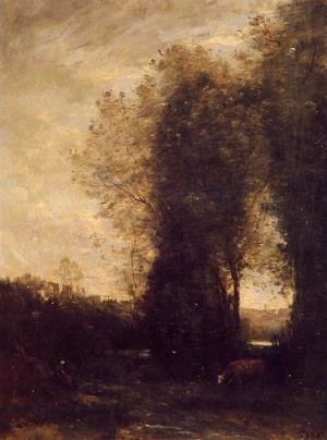 Jean-Baptiste-Camille Corot - A Cow and its Keeper