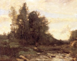 Jean-Baptiste-Camille Corot - Le Torrent Pierreaux (Crépuscule) (The Pierreaux Torrent (Twilight))
