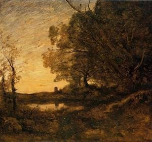 Jean-Baptiste-Camille Corot - Evening - Distant Tower