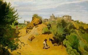 Jean-Baptiste-Camille Corot - Genzano - Goatherd and Village
