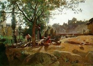 Jean-Baptiste-Camille Corot - Peasants under the Trees at Dawn, Morvan