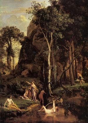 Jean-Baptiste-Camille Corot - Diana Surprised at Her Bath