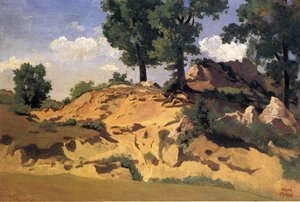 Jean-Baptiste-Camille Corot - Trees and Rocks at La Serpentara