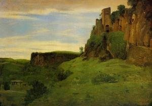 Jean-Baptiste-Camille Corot - Civita Castelland - Buildings High in the Rocks (or La Porta San Salvatore)