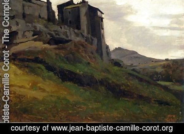Jean-Baptiste-Camille Corot - Marino, Large Buildings on the Rocks