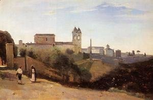 Jean-Baptiste-Camille Corot - Rome, Monte Pinco, the Trinita dei Monte, View from the Garden of the Academie de France