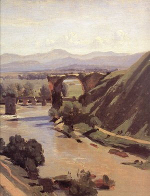 Jean-Baptiste-Camille Corot - The Augustan Bridge at Narni [detail]