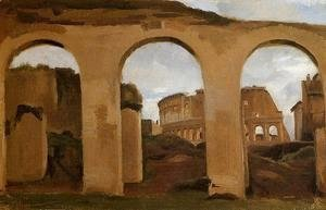 Jean-Baptiste-Camille Corot - Rome - The Coliseum Seen through Arches of the Basilica of Constantine