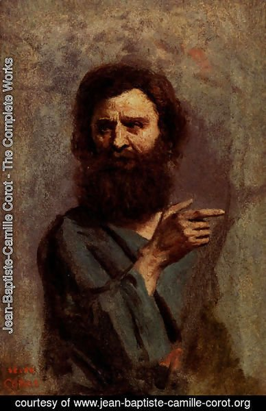 Jean-Baptiste-Camille Corot - Head Of Bearded Man (A Study For The Baptism Of Christ)
