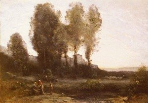 Jean-Baptiste-Camille Corot - Le Monastere Derriere Les Arbres (The Monastery Behind the Trees)