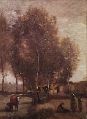 Jean-Baptiste-Camille Corot - St.Catherine-les-Arras-Fields with trees and cottages