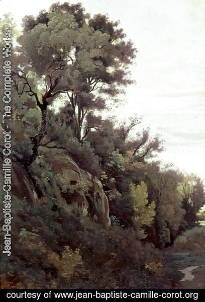 Jean-Baptiste-Camille Corot - Marino - Trees and Rocks