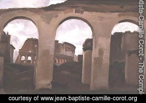 Jean-Baptiste-Camille Corot - The Colosseum, seen through the Arcades of the Basilica of Constantine, 1825