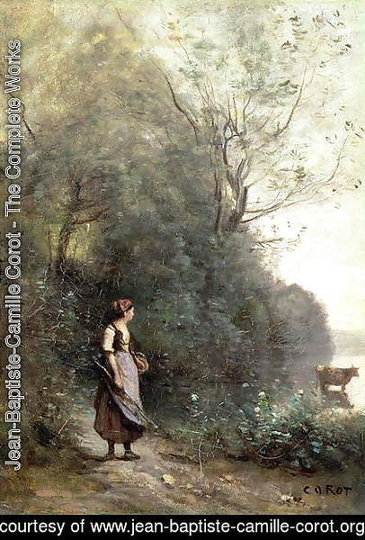 Jean-Baptiste-Camille Corot - A Peasant Woman Grazing a Cow at the Edge of a Forest