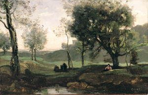 Jean-Baptiste-Camille Corot - Sunset- Figures Under Trees
