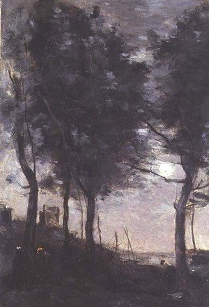 Jean-Baptiste-Camille Corot - Moonlight by the sea