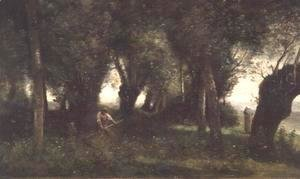 Jean-Baptiste-Camille Corot - Man Scything by a Willow Plot, c.1855-60