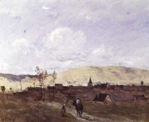Jean-Baptiste-Camille Corot - Cavalier in sight of a Village, 1872