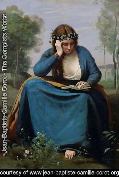 Jean-Baptiste-Camille Corot - The Reader Crowned with Flowers, or Virgil's Muse, 1845