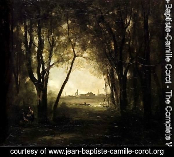 Jean-Baptiste-Camille Corot - Landscape with a Lake, 1860-73