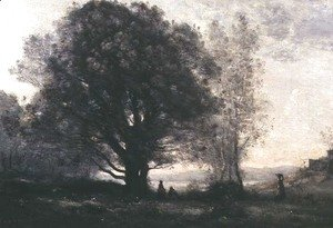 Jean-Baptiste-Camille Corot - The Green-oaks in the Valley (Les Chenes-verts Dans La Vallee)