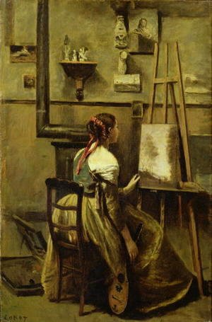 Jean-Baptiste-Camille Corot - The Studio of Corot, or Young woman seated before an Easel, 1868-70