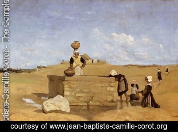 Jean-Baptiste-Camille Corot - Breton Women at the Well near Batz, c.1842