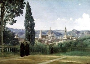 Jean-Baptiste-Camille Corot - View of Florence from the Boboli Gardens, c.1834-36