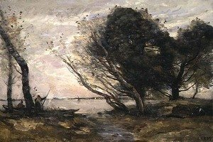 Jean-Baptiste-Camille Corot - The Banks of the Lake after the Flood, c.1870