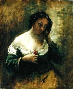 Jean-Baptiste-Camille Corot - The Girl With The Rose, c.1865