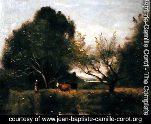 Jean-Baptiste-Camille Corot - Landscape with Cattle