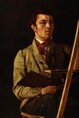 Jean-Baptiste-Camille Corot - Self Portrait, Sitting next to an Easel, 1825