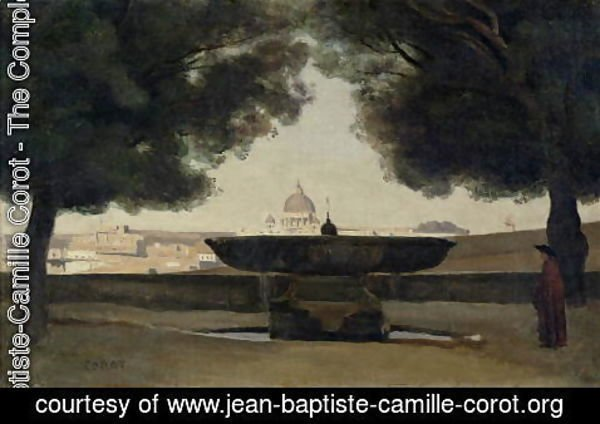 Jean-Baptiste-Camille Corot - The Fountain of the French Academy in Rome, 1826-27