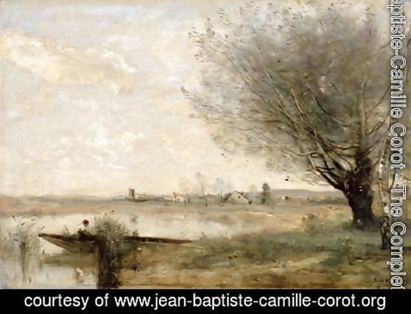 Jean-Baptiste-Camille Corot - Fisherman Moored at a Bank
