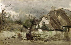 Jean-Baptiste-Camille Corot - Thatched cottage in Picardie