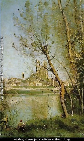 Mantes, View of the Cathedral and Town through the Trees, c.1865-70