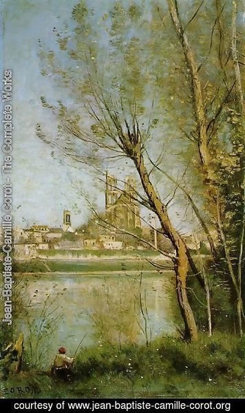 Jean-Baptiste-Camille Corot - Mantes, View of the Cathedral and Town through the Trees, c.1865-70