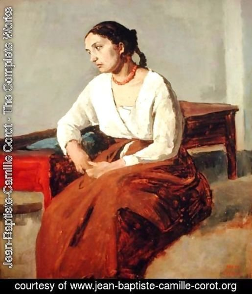 Jean-Baptiste-Camille Corot - Seated Woman in Brown Skirt