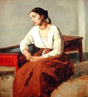 Seated Woman in Brown Skirt