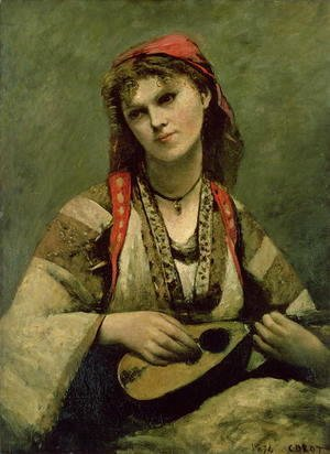 Jean-Baptiste-Camille Corot - Christine Nilson (1843-1921) or The Bohemian with a Mandolin, 1874