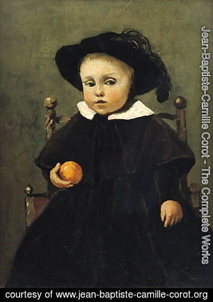 The Painter Adolphe Desbrochers (1841-1902) as a Child, Holding an Orange, 1845