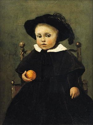 Jean-Baptiste-Camille Corot - The Painter Adolphe Desbrochers (1841-1902) as a Child, Holding an Orange, 1845