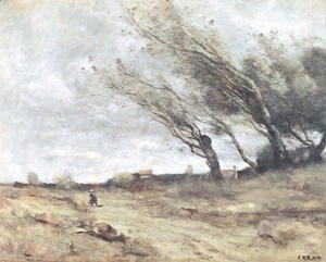 Jean-Baptiste-Camille Corot - The Gust of Wind, c.1865-70