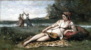Jean-Baptiste-Camille Corot - Young Women of Sparta (or Gypsy Reclining) c.1868-70