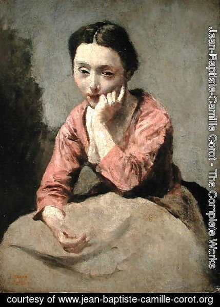 Jean-Baptiste-Camille Corot - Woman in a Pink Blouse