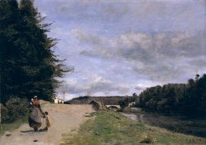 Jean-Baptiste-Camille Corot - Landscape with Mother and Children