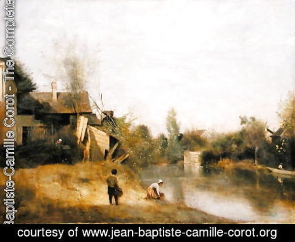 Jean-Baptiste-Camille Corot - Riverbank at Mery sur Seine, Aube, c.1870