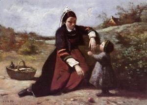 Jean-Baptiste-Camille Corot - Breton Woman and her Little Girl, 1855-65