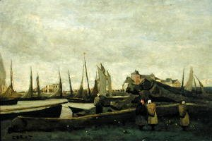Jean-Baptiste-Camille Corot - Treport - A Quay, c.1855-65